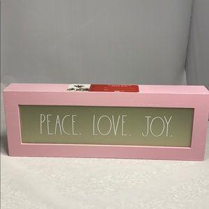 Rae Dunn pink & gold PEACE LOVE JOY sign New